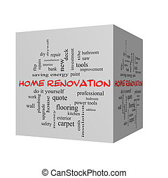 Home Renovation 3D Word Cloud Concept in red caps