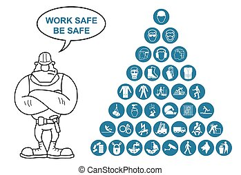 Pyramid Health and Safety Icon coll - Blue construction...