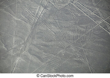 Aerial view of Nazca Lines geoglyphs in Peru. The Lines were...
