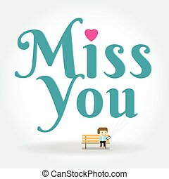 miss you postcard boy Writing Text Message on phone The...