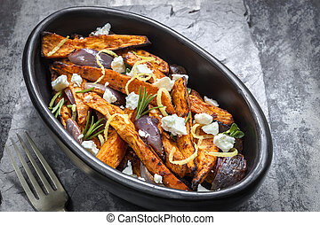 Sweet Potato Fries with Red Onion Feta Cheese and Lemon