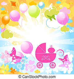 baby carriage  - baby girl in pink carriage