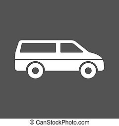 MiniVan - Van, travel, luggage icon vector image Can also be...