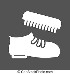 Shoe Polishing - Shoe, polish, brush icon vector imageCan...