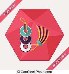 Chinese New Year flat icon with long shadow,eps10, Ancient...