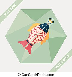 Chinese New Year flat icon with long shadow,eps, Chinese...