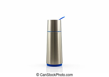 Closeup thermos flask - Closeup thermos flask on the white...