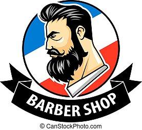 Barbershop With Ribbon Logo - Vector illustration of...