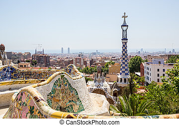 Parc Guell Barcelona - Parc Guell designed by Antoni Gaudi...
