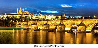 Prague at dusk - Pargue at dusk, view of the Lesser Bridge...