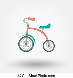 Tricycle flat icon. - Tricycle. Icon for web and mobile...