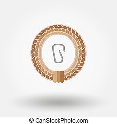 Rope and carbine Icon for web and mobile application Vector...