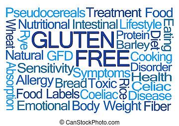 Gluten, livre, palavra, nuvem,