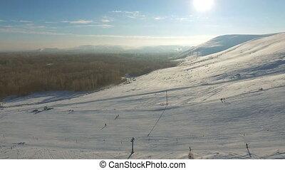 Ski resort  and running ski lifts.