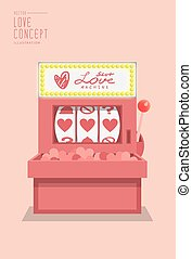 Slot machine love prediction flat vector.