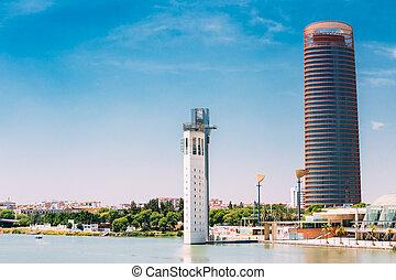 predios, escritório, arranha-céu, alto, Sevilha, Espanha