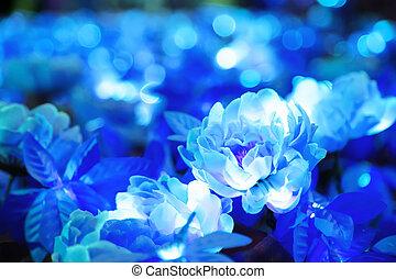 Blurred of blue flower with round shape illuminated LED lighting bokeh background
