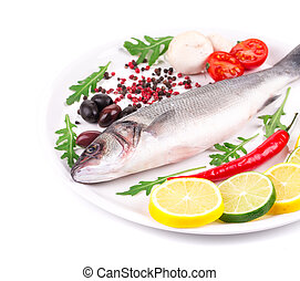 Fresh seabass with lemon and tomato on plate Isolated on a...