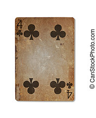 Very old playing card, four of clubs - Very old playing card...