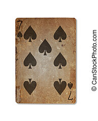 Very old playing card, seven of spades - Very old playing...