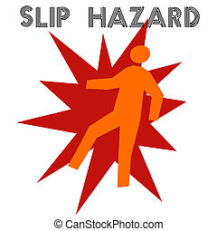 slip and fall - man falling gold red and black illustration