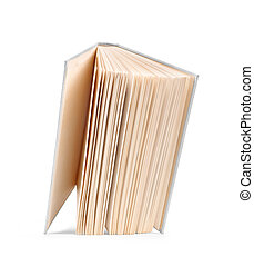 antique vintage white open book falls in the air on an isolated white background