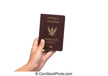 女性, 手, 背景, 護照, 藏品, 白色