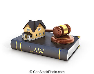 Concept of suing for property. 3d illustration of wooden...
