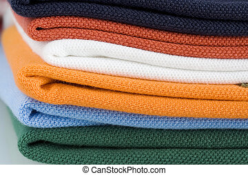 Colored polo shirt pile