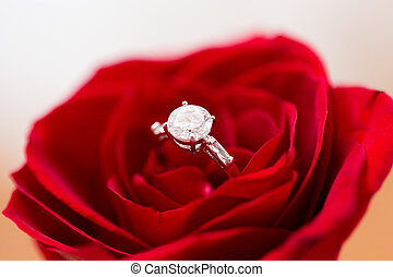close up of diamond engagement ring in rose flower