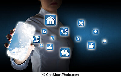 Smartphone interface application - Hand holding smartphone...