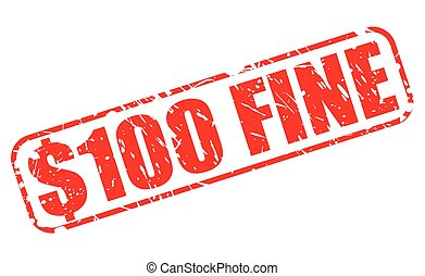 $100 FINE red stamp text on white