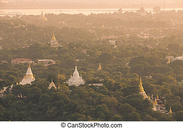 mandalay - Ancient city under sunlight of Sagaing, Mandalay,...