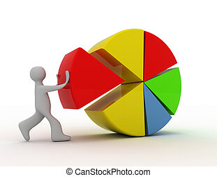3d people - man, person with colorful pie chart