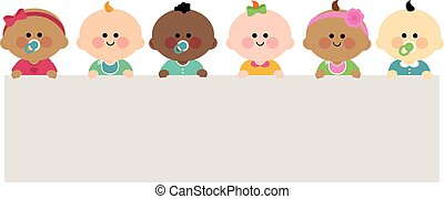 Babies holding horizontal banner - A happy multicultural...