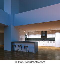 Modern kitchen in the evening interior. 3D render