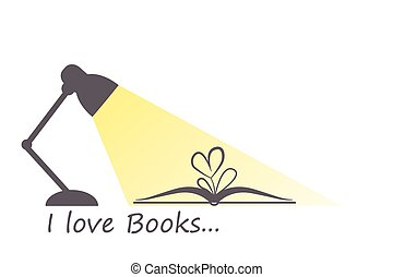 I love books - Open book, heart flower and turned on lamp in...