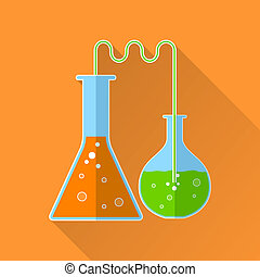 Chemical reaction flat icon. 2 flasks with reagents of...