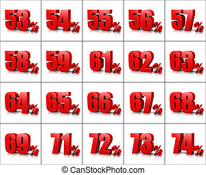 Percentage Numbers Series 4 - Red Percentage Numbers Series...