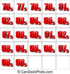 Percentage Numbers Series 5 - Red Percentage Numbers Series...