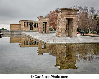 Temple of Debod, Madrid. - Wide angle of Temple of Debod at...