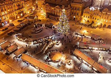 Christmas marketplace in Oldtown square, Prague, Czech...