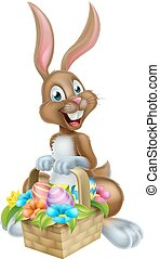 Cartoon Easter Bunny Rabbit with Eggs Basket - Cartoon...