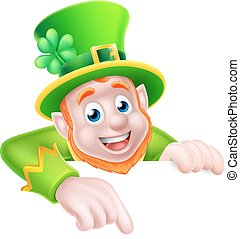 St Patricks Day Cartoon Leprechaun Pointing - Leprechaun...
