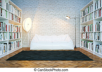 Home library in new white room. Loft design interior . 3D render