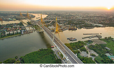 aerial view of bhumibol 1,2 bridge important landmark of...