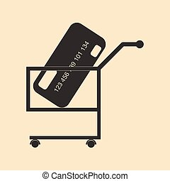 Flat black and white bank card in trolley