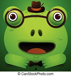 Cute green tree frog cartoon/Vector Frog Character Icon wearing glasses and hat
