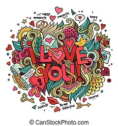 Cartoon vector hand drawn doodle I Love You illustration...