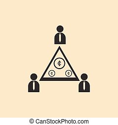Flat in black and white People Pyramid money